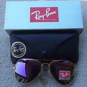 Brand New Purple RayBan Aviators 62mm Never Worn